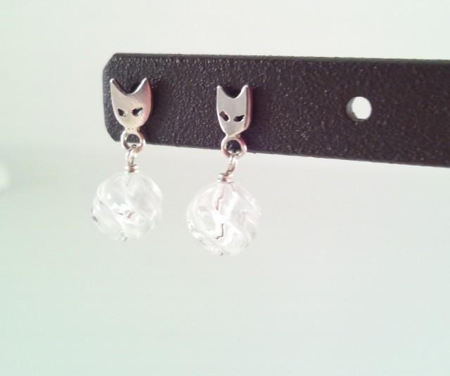 貓臉銀+水晶耳针2個
