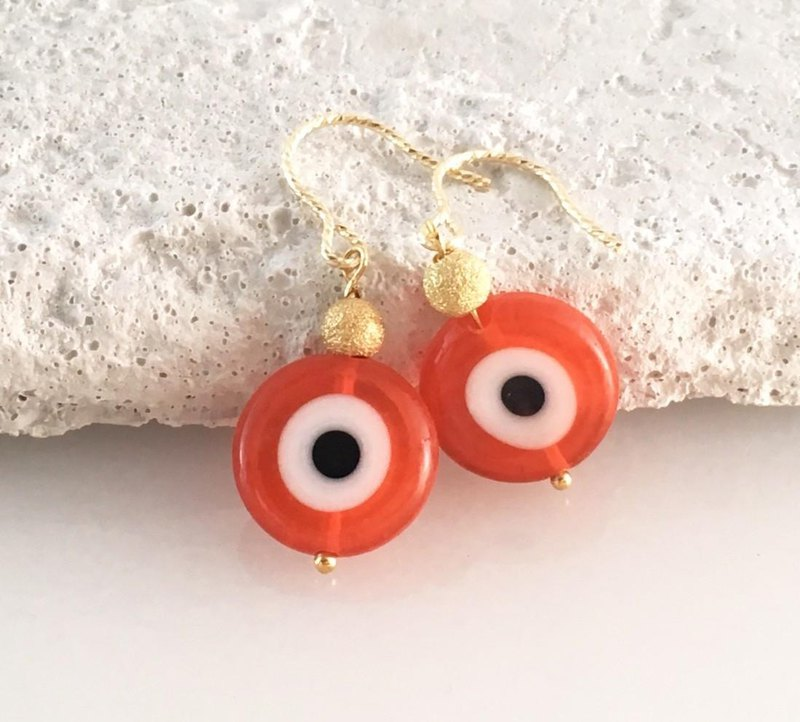Evil Eye Evil Eye Omamori Orange Glass K14GF Earrings Earrings