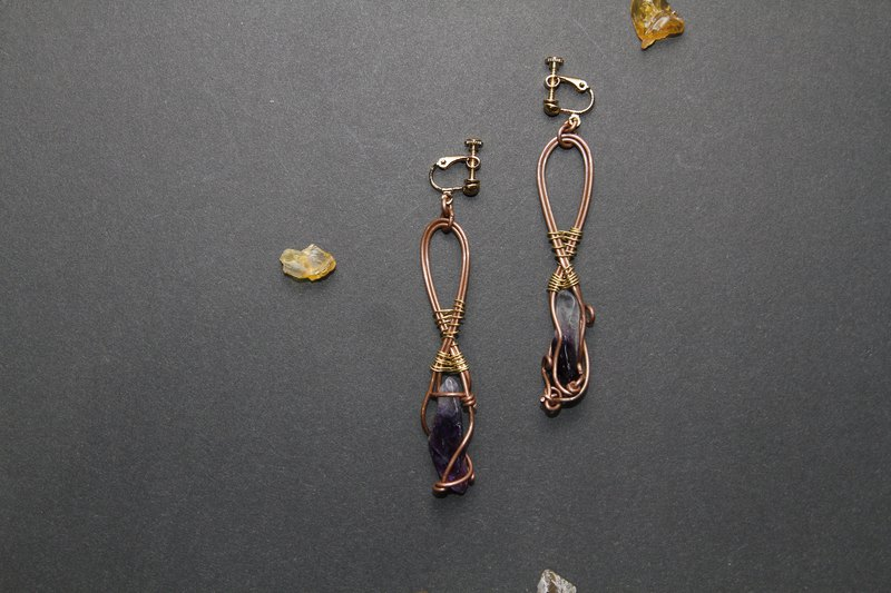 【Series of Crystal】Uruguay purple crystal raw ore earrings