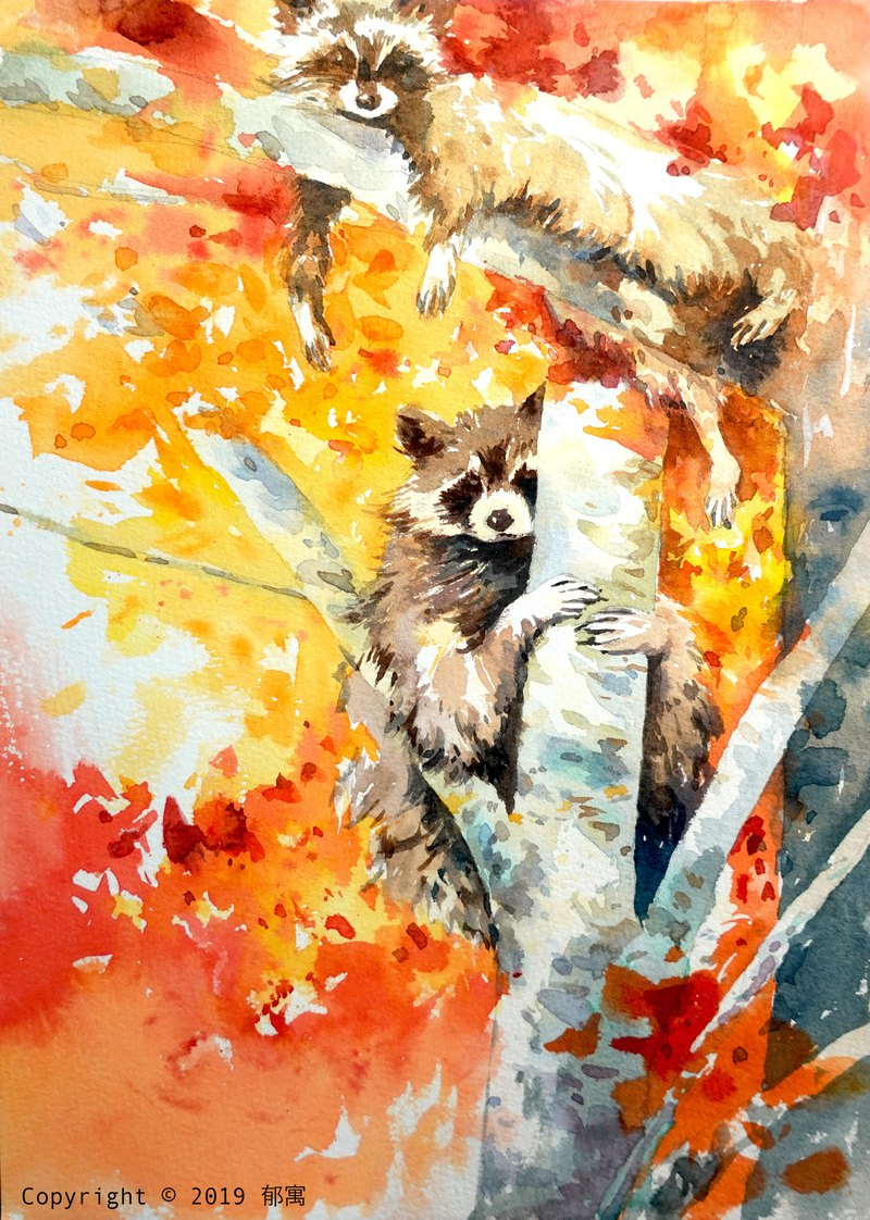 Watercolor painting Raccoons playing on maple tree