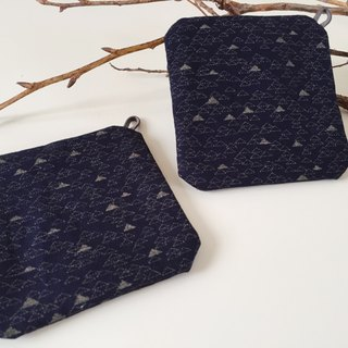 ::Lane68:: Hand Made Coasters - Dark Blue Hills (A Group of 2)