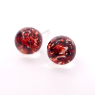 A Handmade imitation red fire opal gem earrings resin