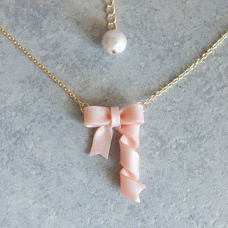 Spinning ribbon necklace, cherry blossoms