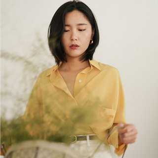 Lemon Tree | Lemon Yellow Silk Retro Bat Sleeve Loose Shirt French Style Neutral