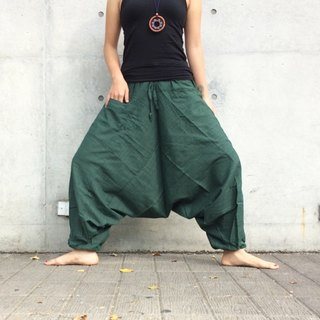 Travel pants - Alibaba pants (malachite green) (single pocket) (striped cotton and linen)