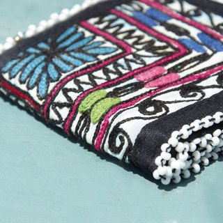 Limited edition handmade embroidery ancient cloth wallet / national wind short clip / embroidery short clip / hand embroidery wallet / folk wind handbag / embroidery bag - light blue flower desert embroidery old cloth