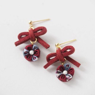 Cute Burgundy bow and Flower Drop Earrings Clip-on 14KGF, S925 custom