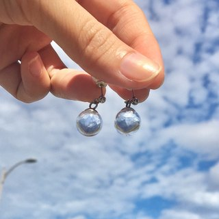 Light blue luminous stone shiny glass ball white steel earrings ear clip [before I called it light blue]