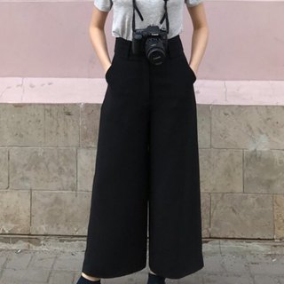 Landis Culottes - Black Draped Floor Pants (Limited Replenishment)