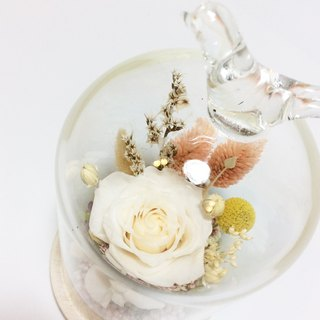 Her Bouquet have each other better | Preserved flowers immortalized white rose flower glass flower ceremony