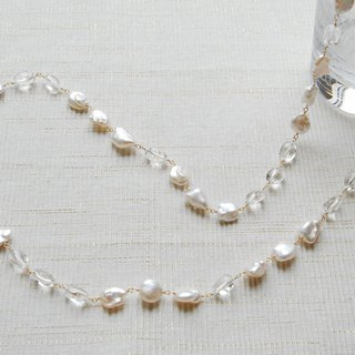 Long shaped pearl and crystal long necklace 14 kgf
