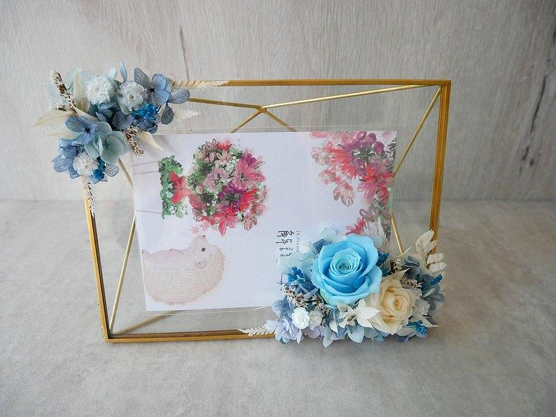 不凋玫瑰相框【湛藍】新婚禮物/簽名桌擺飾/婚禮佈置diy