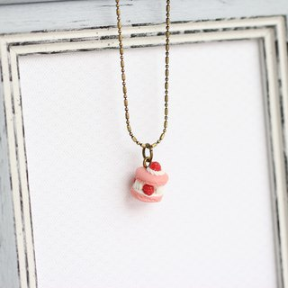 Miniature French classic dessert ispahan Macaron  Necklace Short chain
