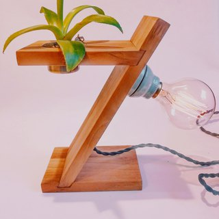 CL Studio [handmade log teak plant lamp holder (with bulb planting)] Valentine's Day gift W1