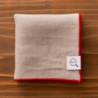 [Stock] Organic linen handkerchief (Unbleached land × Red)