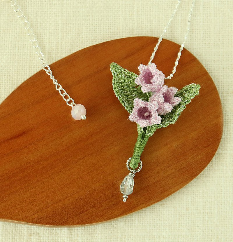 Lily of the Valley Necklace/Necklace Mini Size Crochet White/Purple Rain Flower Series