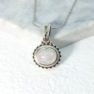 Opal 925 sterling silver retro design necklace Nepal handmade mosaic production (style 2)