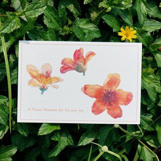 Flower watercolor postcard, Greeting card, Birthday card - Flower Bombax ceiba