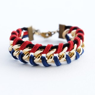 Black/white/navy/red suede cord twisted with gold chain bracelet