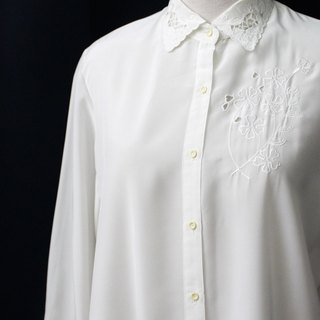 [RE0407T1942] Department of Forestry retro sweet vintage white flowers embroidered shirt