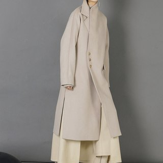 Asymmetrical Long Wool Winter Coat