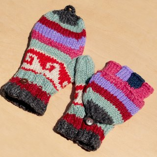 Valentine's Day gift ideas gift hand-woven pure wool knitted gloves / detachable gloves / bristles gloves / warm gloves (made in nepal) - Vivid color deep sea waves national totem