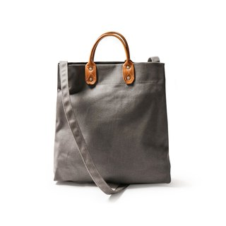 Point bag [icleaXbag] simple M leather canvas shopping bag handbag dark gray DG26