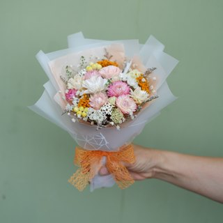 Unfinished | Pink Orange Fresh Color Dry Flower Medium Bouquet Graduation Gift Graduation Season Spot