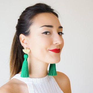 GREEN Clothing Gift Tassel Earrings Statement Earrings Christmas Gift Ideas Gift for Mom Dangle Earrings Wife Gift For Her Girlfriend / CHASSIO