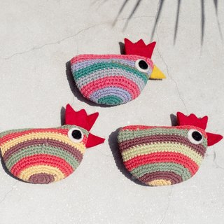 Valentine's Day Gifts Handmade Crochet Knit Chicken Coin Purse / Wool Felt Storage Bag / Bag / Sundry Bag - Rainbow Striped Chicken Animal Good Friends