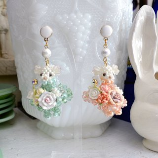 Japanese handmade crystal beaded bear bunny earrings designer hand made heavy work hand-made exquisite doll doll