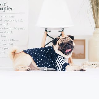 Navy Blue Polka Dot Boat Neck | For Dogs