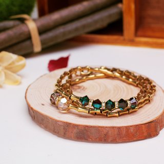 Brass section of bamboo bracelet three times - Emerald Crystal
