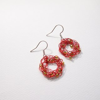 E054 lovely hand woven copper orange donut-shaped earrings