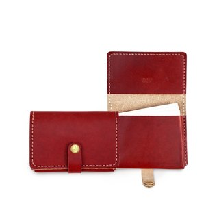 [ADOLE] leather hand made DIY set - business card holder - red