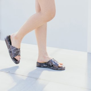 Marble cross sandals shoes - Black Marble