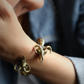 Goat Skulls Bangle by Defy ,Charm Goat Skull Bracelet,Skulls Jewelry,Brass Golden Handcuff