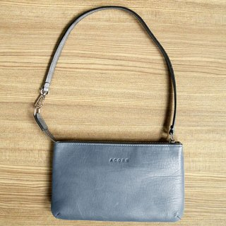 With a simple walk - leather clutch / Blue Ash