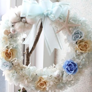Blue Coral Sea - eternal flower wreath decoration