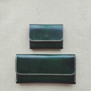 Flap zipper purse Italian vegetable tanned leather retro green pure hand-dyed design can be customized