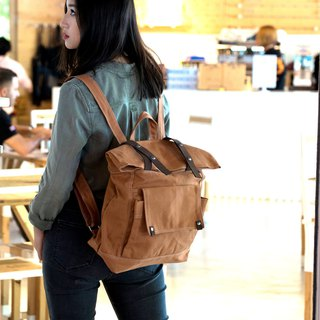 Cognac Backpack ,canvas Satchel Laptop backpack - no.105 ALLISON