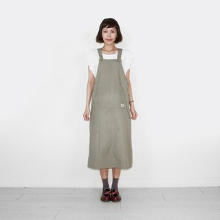 Gray-green khaki vintage camisole long skirt BL6015