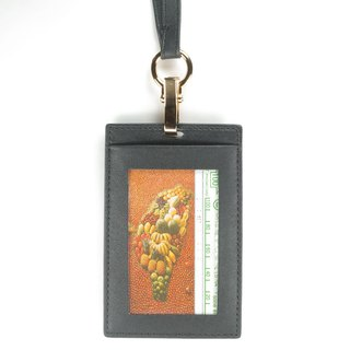 Classic vegetable tanned straight double-layer ID card holder lanyard leather black pay guest lettering service