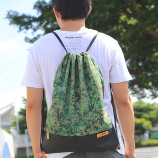 After the beam port backpack tote bag (black x Camouflage) [bamboo] [environmental] [biodegradable]