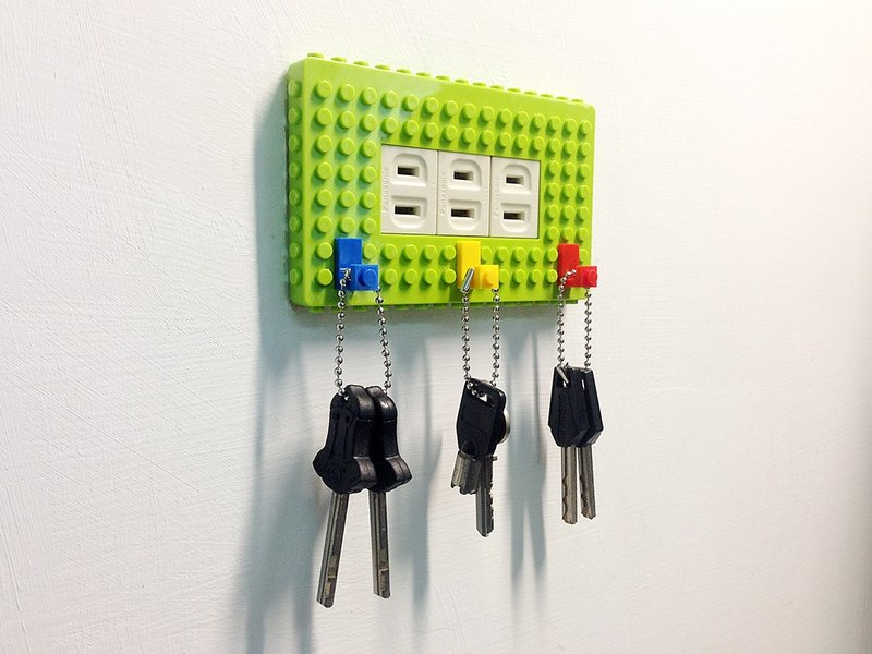 Qubefun block storage power supply cover + 3 into the building block hook (lucky green) # lovely gift # compatible LEGO LEGO