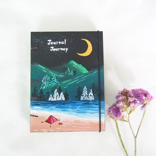 I and red tent in the forest.,Notebook Painting  Handmadenotebook Diary 筆記本