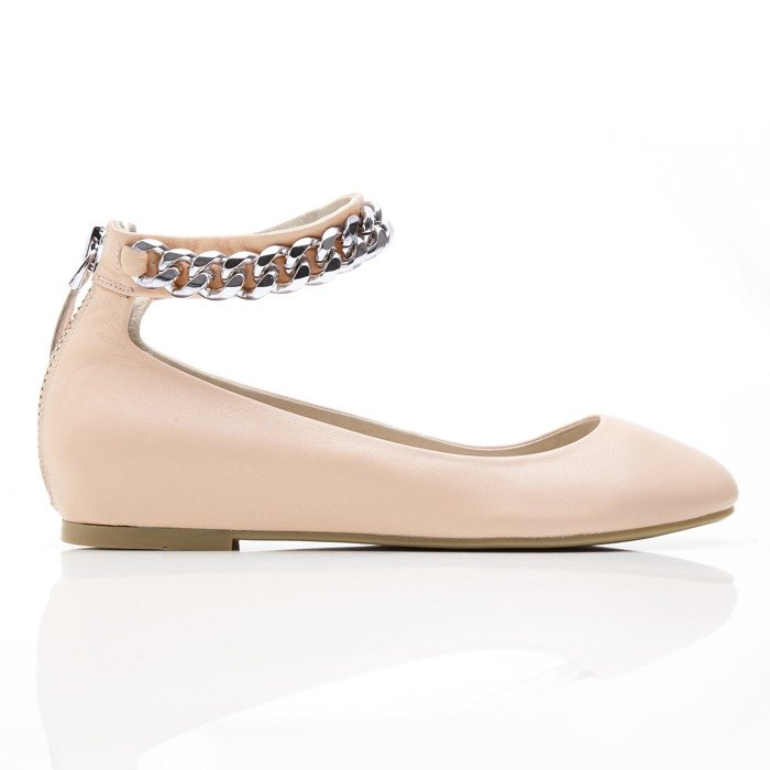 [Saint Landry] LAND Venus silver chain design ballet shoes - elegant apricot
