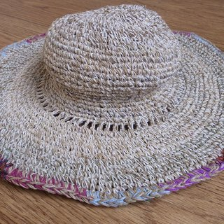 Handmade Hand-woven Hemp and Cotton Hat with adjustable edges, Summer hat