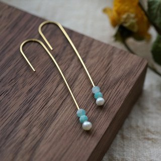 ITS-318 [Brass Minimalist Earrings Series] Mini Pearl Milk U-shaped Ear Hook Earrings