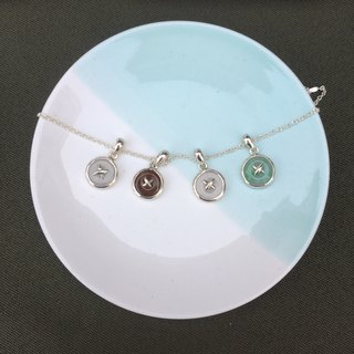 Enron - Natural Emerald (Burma Jade) Button Styling Silver Clavicle Chain